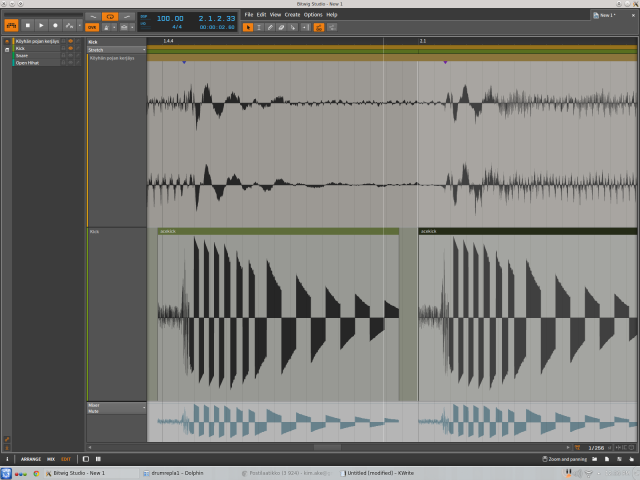 Bitwig layered editor close up