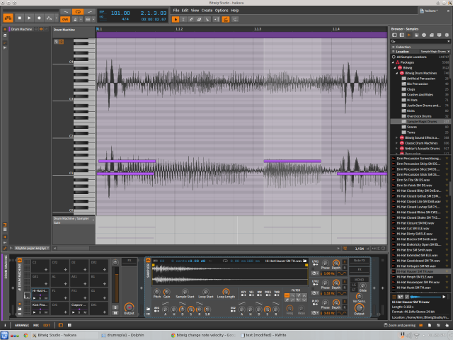 Bitwig lining up notes to audio